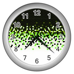 Flat Tech Camouflage Reverse Green Wall Clocks (silver)  by jumpercat