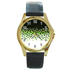 Flat Tech Camouflage Reverse Green Round Gold Metal Watch by jumpercat