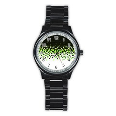 Flat Tech Camouflage Reverse Green Stainless Steel Round Watch
