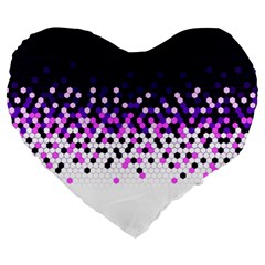 Flat Tech Camouflage Reverse Purple Large 19  Premium Heart Shape Cushions by jumpercat