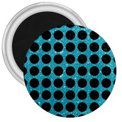 Circles1 Black Marble & Turquoise Glitter 3  Magnets by trendistuff