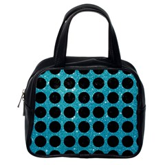 Circles1 Black Marble & Turquoise Glitter Classic Handbags (one Side) by trendistuff