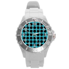 Circles1 Black Marble & Turquoise Glitter Round Plastic Sport Watch (l) by trendistuff