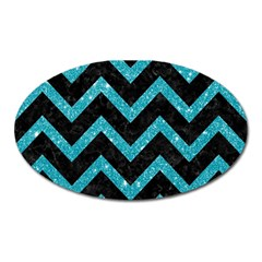 Chevron9 Black Marble & Turquoise Glitter (r) Oval Magnet by trendistuff