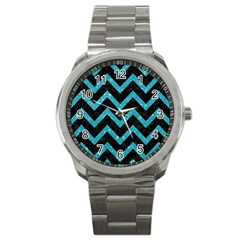 Chevron9 Black Marble & Turquoise Glitter (r) Sport Metal Watch