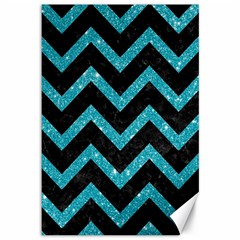Chevron9 Black Marble & Turquoise Glitter (r) Canvas 12  X 18   by trendistuff
