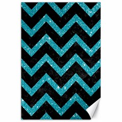 Chevron9 Black Marble & Turquoise Glitter (r) Canvas 20  X 30   by trendistuff