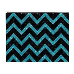 Chevron9 Black Marble & Turquoise Glitter (r) Cosmetic Bag (xl) by trendistuff