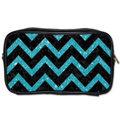 Chevron9 Black Marble & Turquoise Glitter (r) Toiletries Bags 2 Side by trendistuff