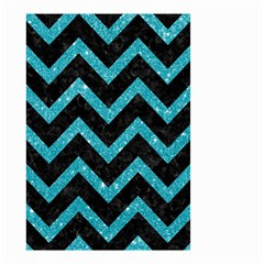 Chevron9 Black Marble & Turquoise Glitter (r) Small Garden Flag (two Sides) by trendistuff