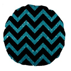 Chevron9 Black Marble & Turquoise Glitter (r) Large 18  Premium Round Cushions by trendistuff