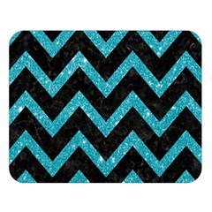 Chevron9 Black Marble & Turquoise Glitter (r) Double Sided Flano Blanket (large)  by trendistuff