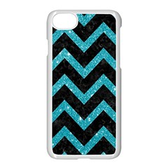 Chevron9 Black Marble & Turquoise Glitter (r) Apple Iphone 7 Seamless Case (white) by trendistuff