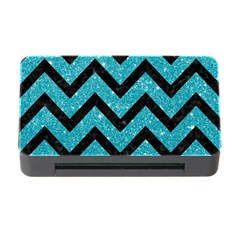 Chevron9 Black Marble & Turquoise Glitter Memory Card Reader With Cf by trendistuff