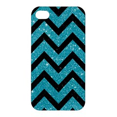Chevron9 Black Marble & Turquoise Glitter Apple Iphone 4/4s Hardshell Case
