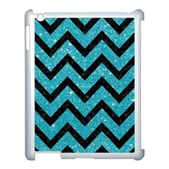 Chevron9 Black Marble & Turquoise Glitter Apple Ipad 3/4 Case (white) by trendistuff