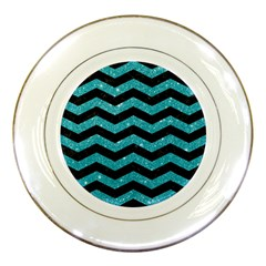 Chevron3 Black Marble & Turquoise Glitter Porcelain Plates by trendistuff