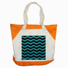 Chevron3 Black Marble & Turquoise Glitter Accent Tote Bag by trendistuff