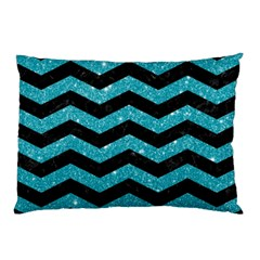 Chevron3 Black Marble & Turquoise Glitter Pillow Case by trendistuff