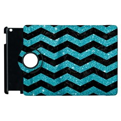 Chevron3 Black Marble & Turquoise Glitter Apple Ipad 2 Flip 360 Case by trendistuff