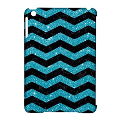 Chevron3 Black Marble & Turquoise Glitter Apple Ipad Mini Hardshell Case (compatible With Smart Cover) by trendistuff