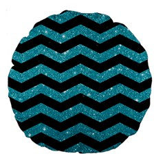 Chevron3 Black Marble & Turquoise Glitter Large 18  Premium Round Cushions by trendistuff