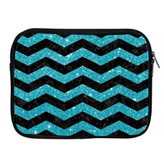 Chevron3 Black Marble & Turquoise Glitter Apple Ipad 2/3/4 Zipper Cases by trendistuff