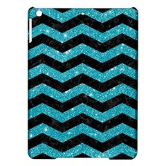 Chevron3 Black Marble & Turquoise Glitter Ipad Air Hardshell Cases by trendistuff