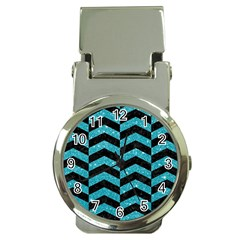 Chevron2 Black Marble & Turquoise Glitter Money Clip Watches by trendistuff