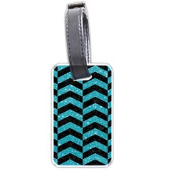 Chevron2 Black Marble & Turquoise Glitter Luggage Tags (one Side)  by trendistuff