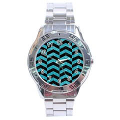 Chevron2 Black Marble & Turquoise Glitter Stainless Steel Analogue Watch by trendistuff