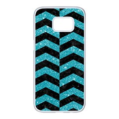 Chevron2 Black Marble & Turquoise Glitter Samsung Galaxy S7 Edge White Seamless Case by trendistuff