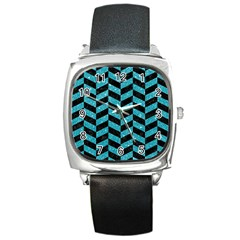 Chevron1 Black Marble & Turquoise Glitter Square Metal Watch by trendistuff