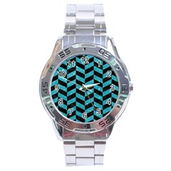Chevron1 Black Marble & Turquoise Glitter Stainless Steel Analogue Watch by trendistuff