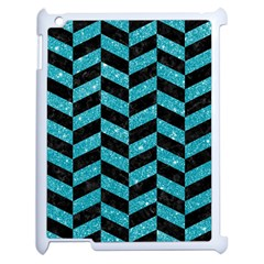 Chevron1 Black Marble & Turquoise Glitter Apple Ipad 2 Case (white) by trendistuff