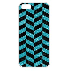 Chevron1 Black Marble & Turquoise Glitter Apple Iphone 5 Seamless Case (white) by trendistuff