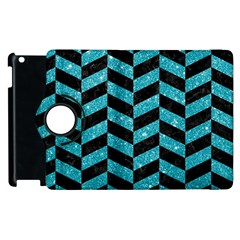 Chevron1 Black Marble & Turquoise Glitter Apple Ipad 2 Flip 360 Case by trendistuff