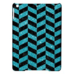 Chevron1 Black Marble & Turquoise Glitter Ipad Air Hardshell Cases by trendistuff