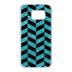 Chevron1 Black Marble & Turquoise Glitter Samsung Galaxy S7 White Seamless Case by trendistuff
