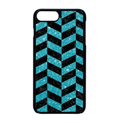 Chevron1 Black Marble & Turquoise Glitter Apple Iphone 8 Plus Seamless Case (black) by trendistuff