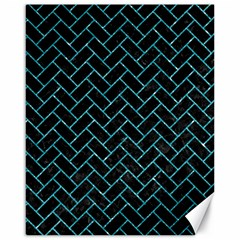 Brick2 Black Marble & Turquoise Glitter (r) Canvas 16  X 20   by trendistuff