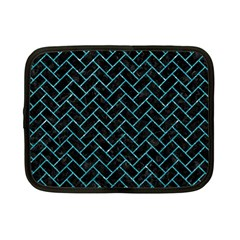 Brick2 Black Marble & Turquoise Glitter (r) Netbook Case (small)  by trendistuff