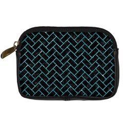 Brick2 Black Marble & Turquoise Glitter (r) Digital Camera Cases by trendistuff