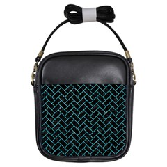 Brick2 Black Marble & Turquoise Glitter (r) Girls Sling Bags by trendistuff