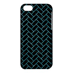 Brick2 Black Marble & Turquoise Glitter (r) Apple Iphone 5c Hardshell Case by trendistuff