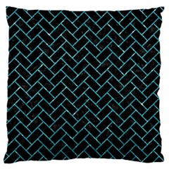 Brick2 Black Marble & Turquoise Glitter (r) Large Flano Cushion Case (one Side) by trendistuff