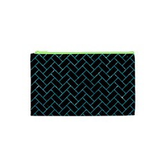 Brick2 Black Marble & Turquoise Glitter (r) Cosmetic Bag (xs) by trendistuff
