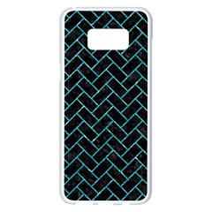 Brick2 Black Marble & Turquoise Glitter (r) Samsung Galaxy S8 Plus White Seamless Case by trendistuff
