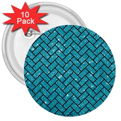 Brick2 Black Marble & Turquoise Glitter 3  Buttons (10 Pack)  by trendistuff