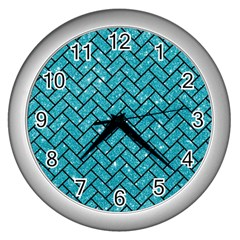 Brick2 Black Marble & Turquoise Glitter Wall Clocks (silver)  by trendistuff